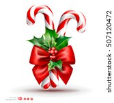 christmas candy cane with red... | Shutterstock .eps vector #507120472