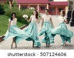 dazzling bridesmaids walk... | Shutterstock . vector #507124606