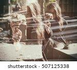double exposure of sad widow... | Shutterstock . vector #507125338