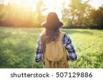 rear view of hipster woman...   Shutterstock . vector #507129886