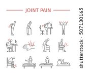 joint pain. line icons set.... | Shutterstock .eps vector #507130165