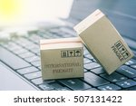 light brown cardboard boxes on... | Shutterstock . vector #507131422
