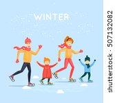 family skating. winter sports.... | Shutterstock .eps vector #507132082