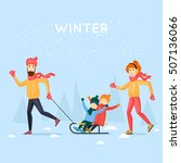 tobogganing with kids. happy... | Shutterstock .eps vector #507136066