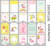baby flamingo tags. banners.... | Shutterstock .eps vector #507141352