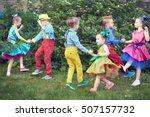 three children couples dance on ... | Shutterstock . vector #507157732
