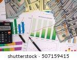 pen on graphs business report...   Shutterstock . vector #507159415