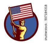 standard bearer man holding usa ... | Shutterstock .eps vector #507184318
