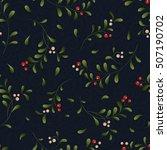 green sprig with red berries... | Shutterstock . vector #507190702