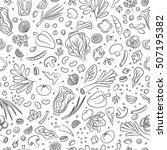 veggie seamless pattern with... | Shutterstock .eps vector #507195382
