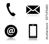 vector black line contact icons ... | Shutterstock .eps vector #507195682
