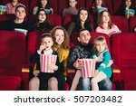 happy family in the movie | Shutterstock . vector #507203482