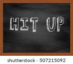 Small photo of HIT UP hand writing chalk text on black chalkboard