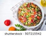 fresh healthy salad with quinoa ... | Shutterstock . vector #507215542