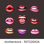 lips set. bright lip | Shutterstock .eps vector #507220426