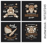 motorcycle colored emblems or t ... | Shutterstock .eps vector #507227245