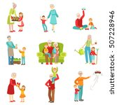 grandparents and kids having... | Shutterstock .eps vector #507228946
