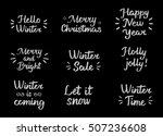 set winter hand drawn brush...   Shutterstock .eps vector #507236608