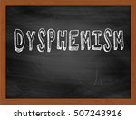 Small photo of DYSPHEMISM hand writing chalk text on black chalkboard