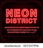 bright neon alphabet letters ... | Shutterstock .eps vector #507247996