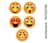 vector smiley face. set icon... | Shutterstock .eps vector #507265786