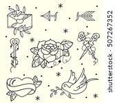set of old school tattoos. hand ... | Shutterstock .eps vector #507267352