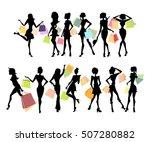 shopping sillhouettes set.... | Shutterstock .eps vector #507280882