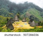 Small photo of Bird eye view of indigenous conical huts in Wae Rebo Village, Flores Island, Indonesia