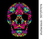 day of the dead psychedelic... | Shutterstock .eps vector #507297076