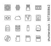 Data Storage Vector Line Icon...