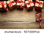 Gift Boxes On Wood Background ...