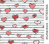 seamless pattern with hearts.... | Shutterstock .eps vector #507303466