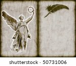 old grunge book with feather and angel like messenger - stock photo