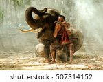 Elephant And Mahout Sitting...
