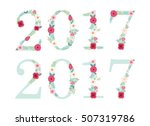 vintage numbers 2017 with... | Shutterstock .eps vector #507319786