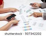 human hands of group coworkers... | Shutterstock . vector #507342202