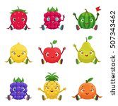 fruit and berries cute girly... | Shutterstock .eps vector #507343462