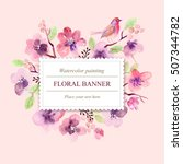 watercolor floral greeting card.... | Shutterstock . vector #507344782