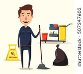 cleaning staff character with...   Shutterstock .eps vector #507347602