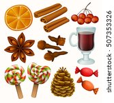 set of christmas spices and... | Shutterstock .eps vector #507353326