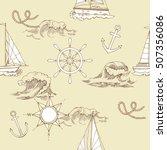 nautical seamless pattern. hand ... | Shutterstock . vector #507356086