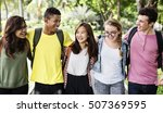 diverse group young people... | Shutterstock . vector #507369595