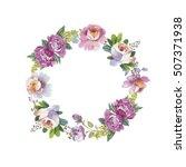 wildflower rose flower wreath...   Shutterstock . vector #507371938