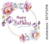 wildflower rose flower frame in ... | Shutterstock . vector #507371998