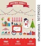 christmas village  winter town  ... | Shutterstock .eps vector #507390202