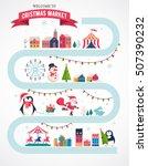 christmas village map  winter... | Shutterstock .eps vector #507390232