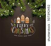 wooden background christmas... | Shutterstock .eps vector #507392452