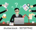 person at work multitasking ... | Shutterstock .eps vector #507397942