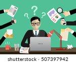 person at work multitasking ... | Shutterstock .eps vector #507397942