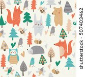 seamless background with cute... | Shutterstock .eps vector #507403462